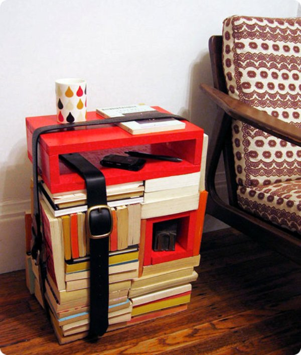 Books and belts DIY side table