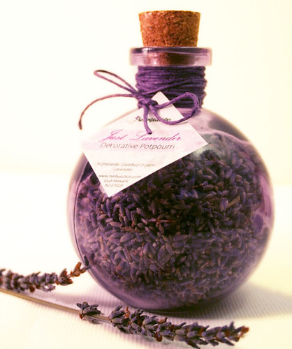 Organic Lavender Decorative Potpourri in a recycled purple corked jar Eco-friendly and natural glamourous gift