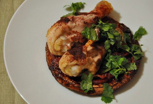 Roasted Sumac Chicken Atop Pita and Onions