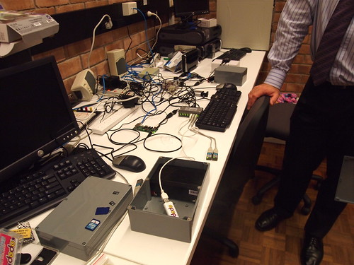 The array of USB dongles, plus all the other components in the emerging hardware prototype