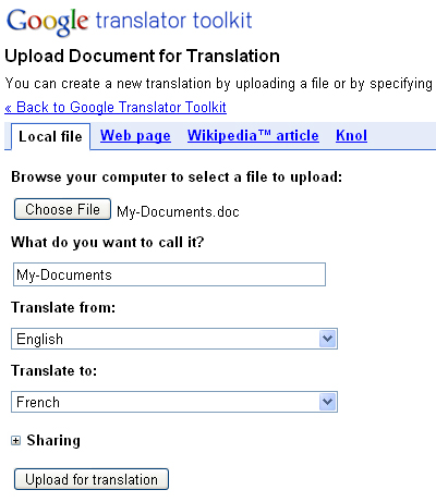 Translate your documents using Google Translator Toolkit
