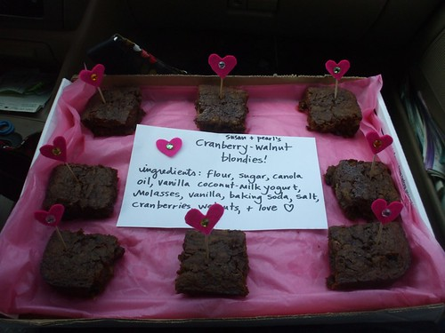 cranberry-walnut blondies with hearts for good measure