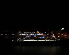Cruise docks at night