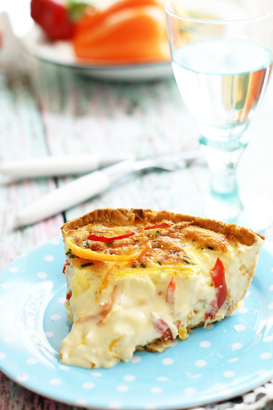 Cheese and three round peppers tart