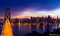 Bay bridge with San Francisco cityscape night light (davidyuweb) Tags: bridge light beautiful night bay photo san francisco cityscape with
