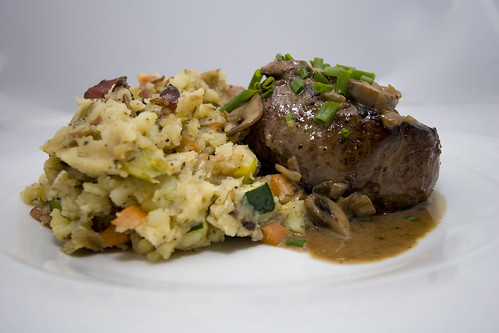 Filet Mignon with Mushroom Brandy Sauce and Mashed Potatoes with Pancetta and Leeks