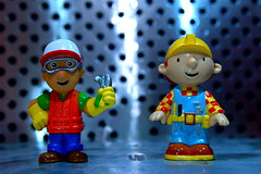 Handy Manny vs. Bob the Builder (52/365) (JD Hancock) Tags: fun toy actionfigure action cc figure duel bobthebuilder 365 day52 1k nogeo inkitchen handymanny jdhancock duel365
