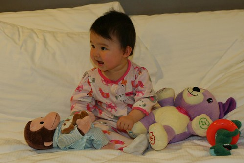 Playing on the bed in LA