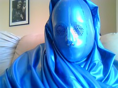 Smooth Latex Face (latexladyll) Tags: blue fetish veil rubber latex submission burqa silenced gagged enclosure bdsmlifestyle