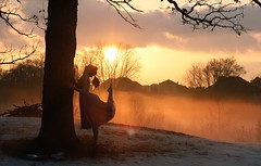 Still can't find what keeps me here. (Allison Imagining) Tags: trees houses sunset portrait ballet selfportrait snow me grass fog clouds shadows lol branches dancer goldenhour pileofsticks toepoint damnhouses truthandillusion