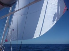 With the Code 0 sail pulling us along nicely at 6 knots (Jessica_Watson) Tags: world old out person sailing jessica year solo watson be sail around 16 non setting youngest unassisted jessicawatson nonunassisted