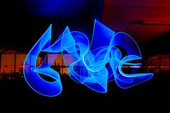 Blue Ribbon (www.bazpics.com) Tags: light night dark flow long exposure sony led torch stick ribbon junkies dscr1 bazpics