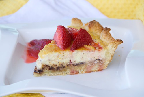 Italian chocolate-orange ricotta pie with sambuca spiked strawberries