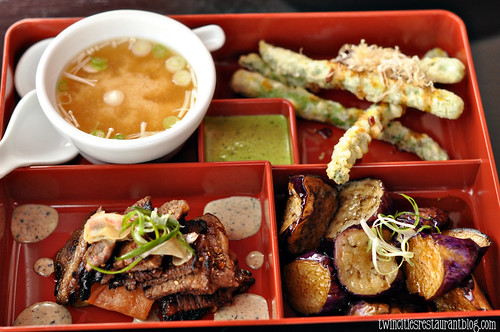20.21 Bento Box with Ribs, Eggplant and Tempura Asparagus