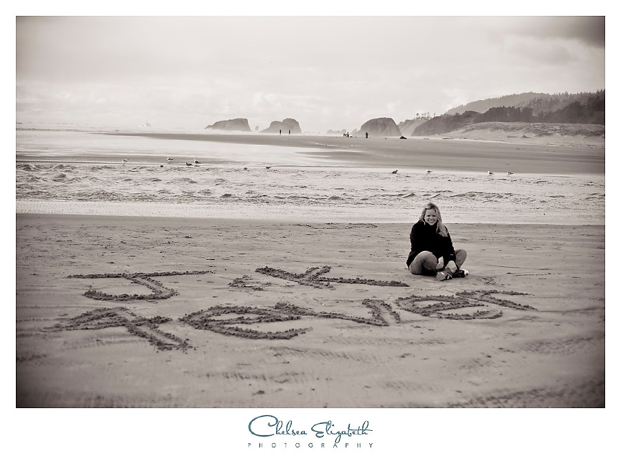 Love notes written in the sand, black and white oregon cannon beach