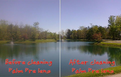 Before and after cleaning of Palm Pre lens