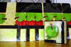 Individuales y caja servilletera (Taller Mariposas Amarillas) Tags: arte country mdf decoracion hogar casa individuales caja servilletero frutas manzanas
