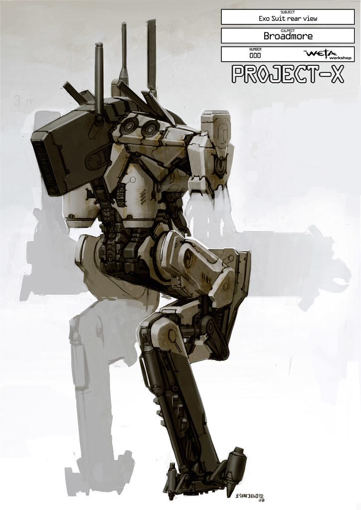Boceto Sector 9 Exo suit Weta