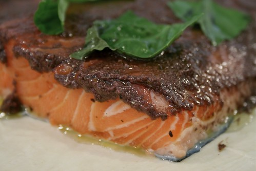 Basil & black olive tapenade on salmon