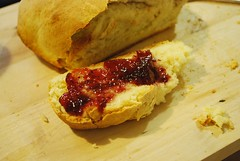 Jam on said homemade bread