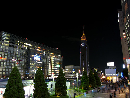 view from the south exit of Shinjuku station