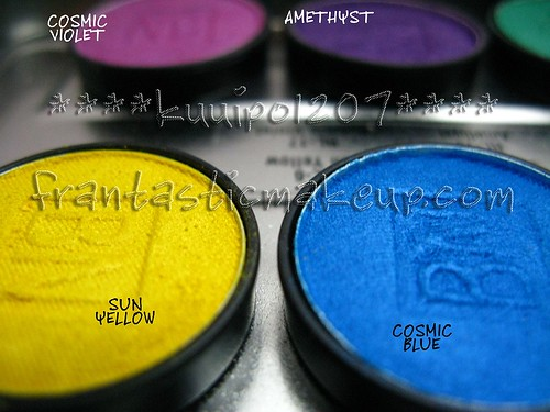 Ben Nye Lumiere eyeshadow - Sun Yellow & Cosmic Blue