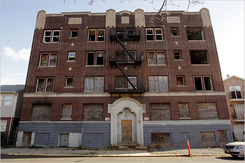 Vacant apartment building on Broad Street in Newark, NJ