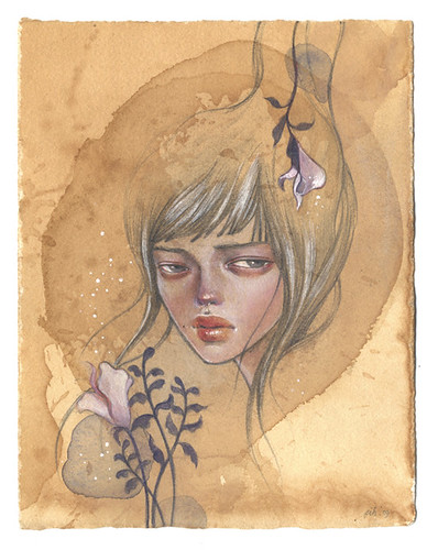 "Selene. 6""x8"". Mixed Media (Graphite, Watercolor & Acrylic) on Tea-stained Paper. ©2009."