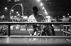 Moment (clarkmackey) Tags: bw horse cowboy tmax3200 competition rope rodeo moment railing tmaxdev lasso calfroping ashevillenc hexarrf voigtlanderheliar75mmf25 wncagcenter southernfinalsrodeo southernrodeoassociation