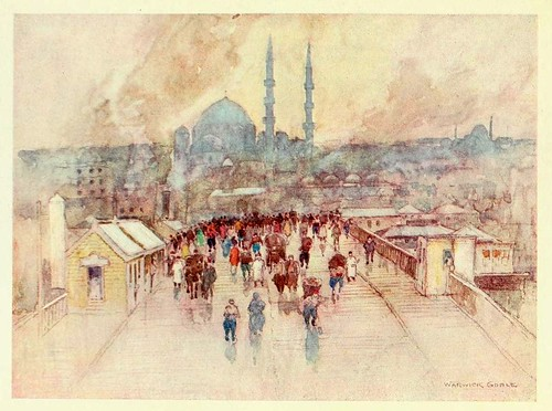 030-Un dia de lluvia en el puente Galata- Constantinople painted by Warwick Goble (1906)