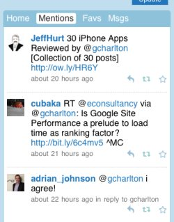 Twitter mobile mentions