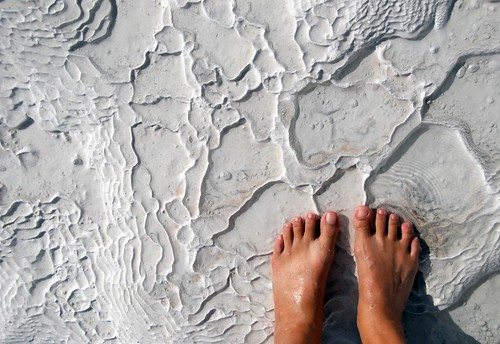 my feet on travertine rock, pamukkale