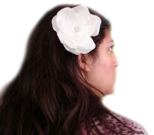 IVORY WHITE BIG ROSE BLOSSOM WEDDING FLOWER HAIR COMB