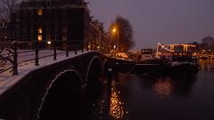 Winter in Amsterdam (Kirsteeen) Tags: bridge white snow water amsterdam amstel 2010 winterinamsterdam
