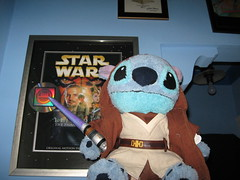 Plush Stitch wearing Build A Bear Jedi robes