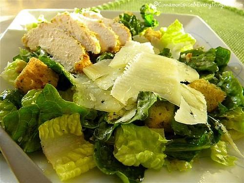Caesar Salad with Parmesan Chicken