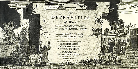 Sandow Birk, Title Page for Depravities of War Portfolio