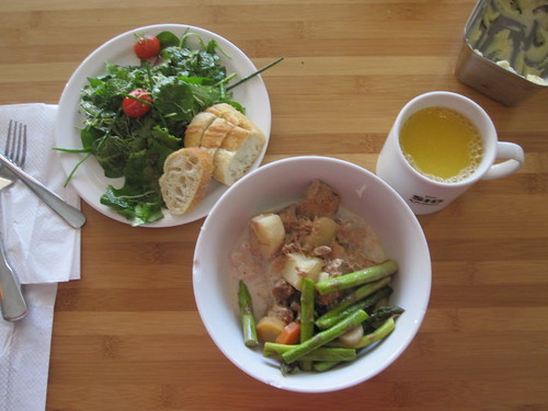Veal blanquette , veggies, salad, bread - $6 from the bistro