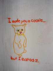 Lolcat embroidery #1 I made you a cookie (akki14) Tags: