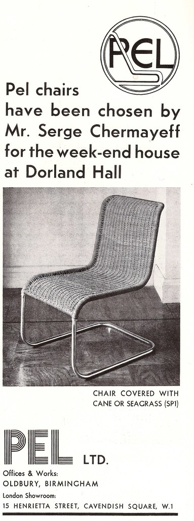 """PEL chairs advert from """"Design for Today"""" magazine, July 1933"""
