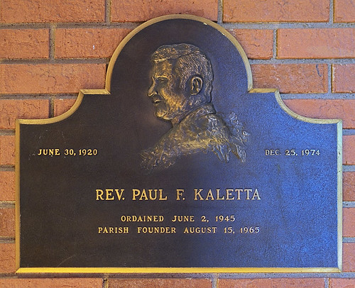 Incarnate Word Roman Catholic Church, in Chesterfield, Missouri, USA - Rev. Paul F. Kaletta memorial plaque