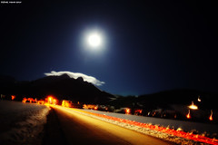 Rush Hour In The Mountains ;-) (LilFr38) Tags: road cloud moon mountain france night montagne lune lights village lumire route nuage nuit canonef1740mmf4lusm ancelle hautesalpes lilfr38 canoneos5dmarkii followyouhomenickelback
