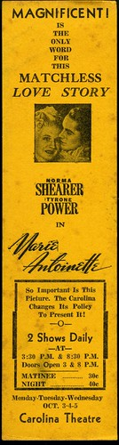 "Bookmark advertisement for ""Marie Antoinette"" film, showing at Carolina Theater"