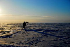 Alone (unlimited inspirations) Tags: world road travel blue winter sunset sea sky people sun white snow man ice nature silhouette clouds finland landscape lights frozen nikon scenery europe flickr alone ship colours gulf view body walk horizon best arctic direction freeze lapland lonely sampo kemi sunlights bothnia sampoicebreaker nikond80 unlimitedinspirations mygearandmepremium mygearandmebronze mygearandmesilver mygearandmegold mygearandmeplatinum mygearandmediamond arcticgulfofbothnia artistoftheyearlevel3 artistoftheyearlevel4 artistoftheyearlevel5 artistoftheyearlevel7 artistoftheyearlevel6