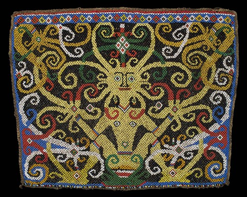 //Bead panel from a baby carrier//, Bahau people. Borneo 19th century, 35 x 28 cm. From the Teo Family collection, Kuching. Photograph by D Dunlop.