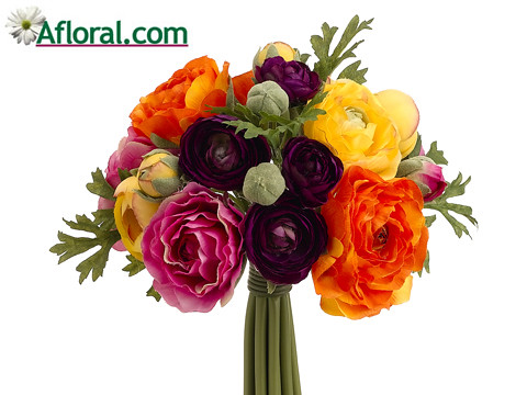 Purpke Orange Silk Ranunculus Bouquet