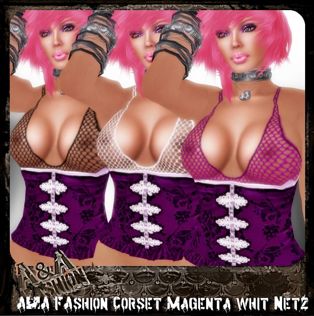 A&A FAshion Corset whit Netz magenta