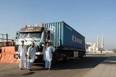 TRUCKING IN DUBAI (Claude  BARUTEL) Tags: mercedes dubai united transport emirates arab sharjah trucking drivers