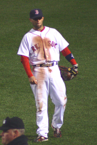 Pedroia rarely gets past the third inning without looking like this