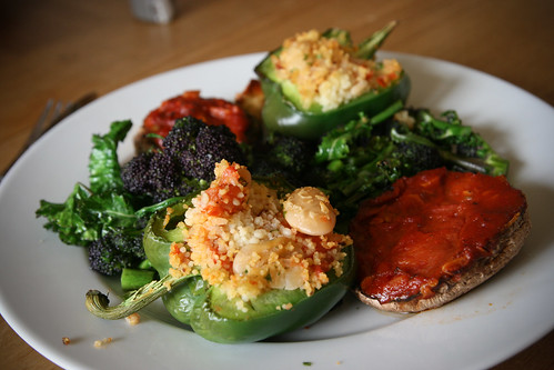 Stuffed peppers and mushrooms with purple sprouting broccoli